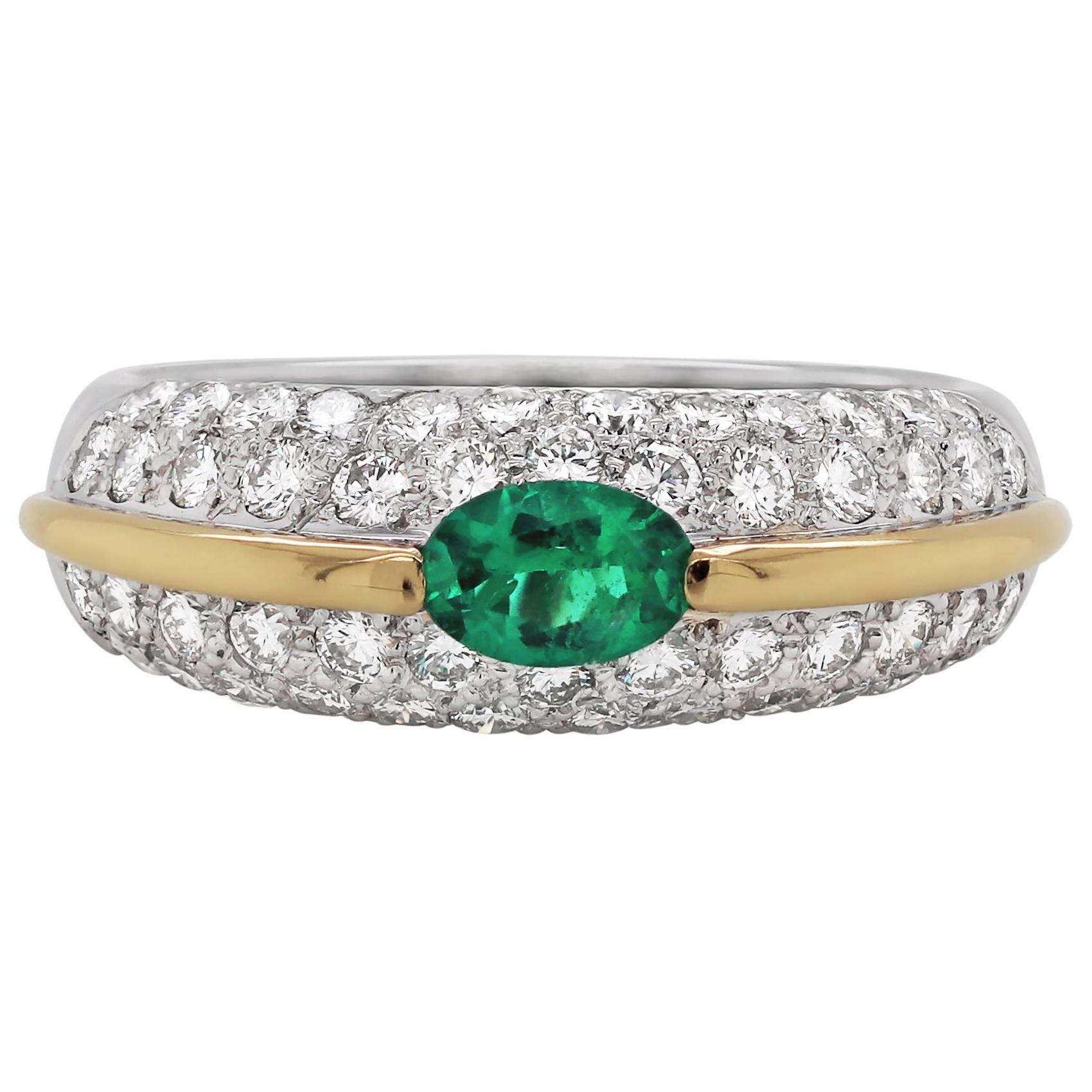 Emerald and Diamond Bombé Cluster 18 Carat Gold Dress Ring
