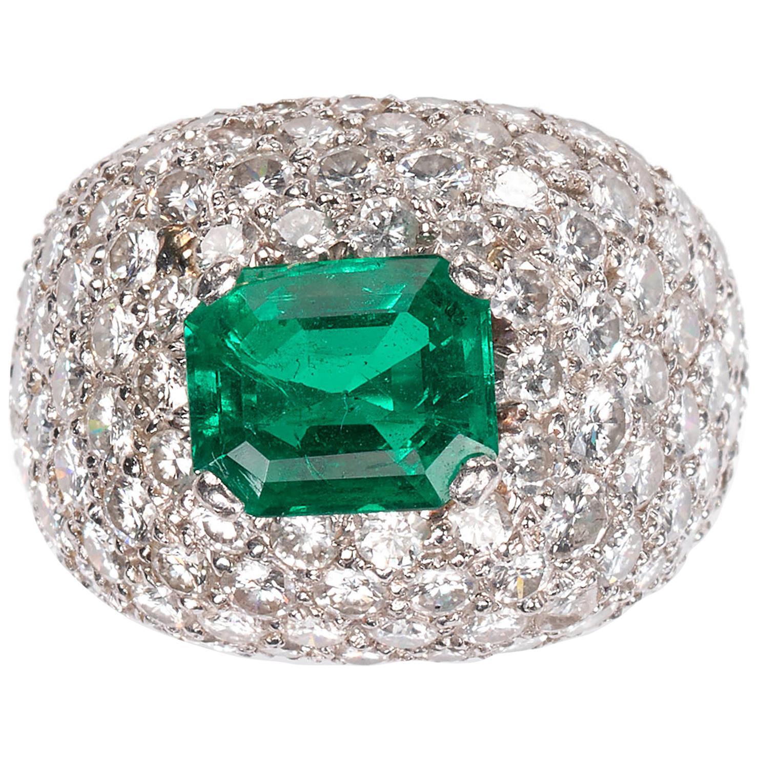 Emerald and Diamond Bombé Cluster Ring