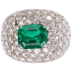 Emerald and Diamond Bombé Cluster Ring