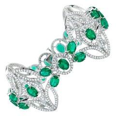 Emerald And Diamond Bracelet in 18K Gold