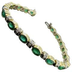 Emerald and Diamond Bracelet in 14 Karat Yellow Gold