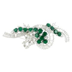 Emerald And Diamond Brooch in Platinum 950