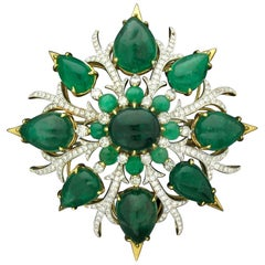 Emerald and Diamond Brooch or Pendant by Tony Duquette