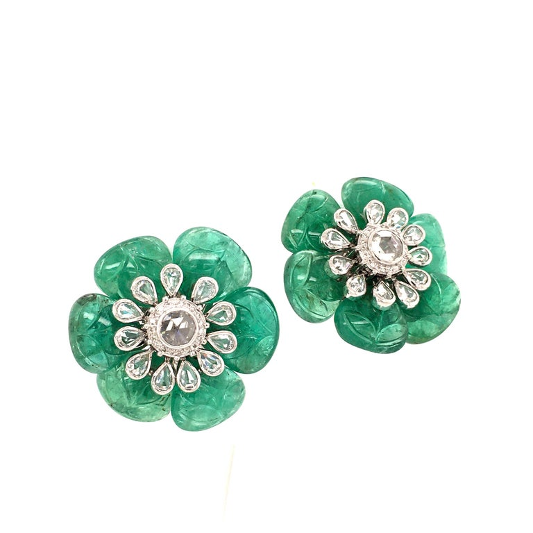 Rose Cut Emerald and Diamond Camelia Earclips in 18 Karat White Gold For Sale