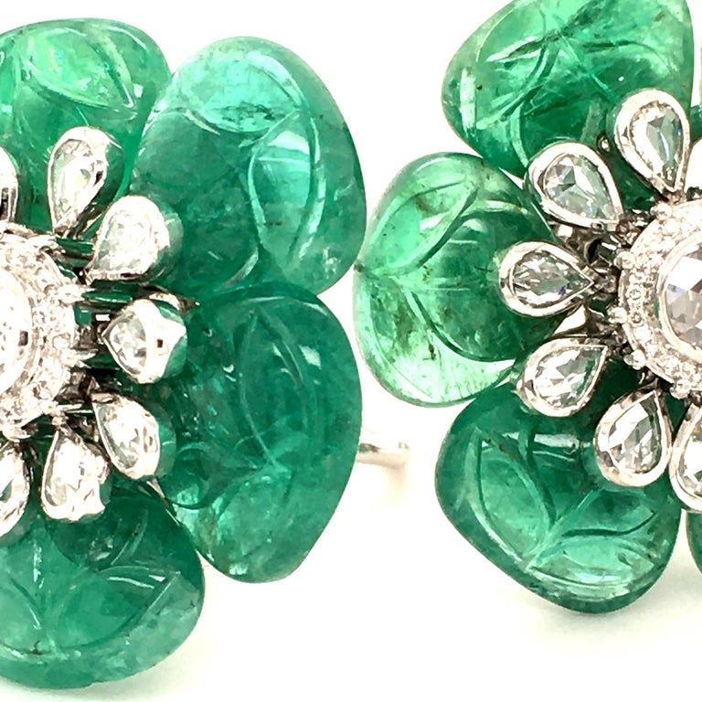 Women's or Men's Emerald and Diamond Camelia Earclips in 18 Karat White Gold For Sale