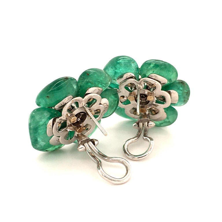 Emerald and Diamond Camelia Earclips in 18 Karat White Gold For Sale 2