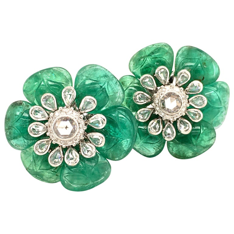 Emerald and Diamond Camelia Earclips in 18 Karat White Gold For Sale