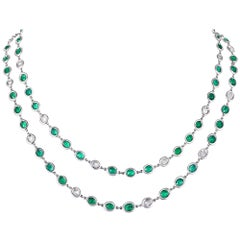 Emerald and Diamond Chain Necklace