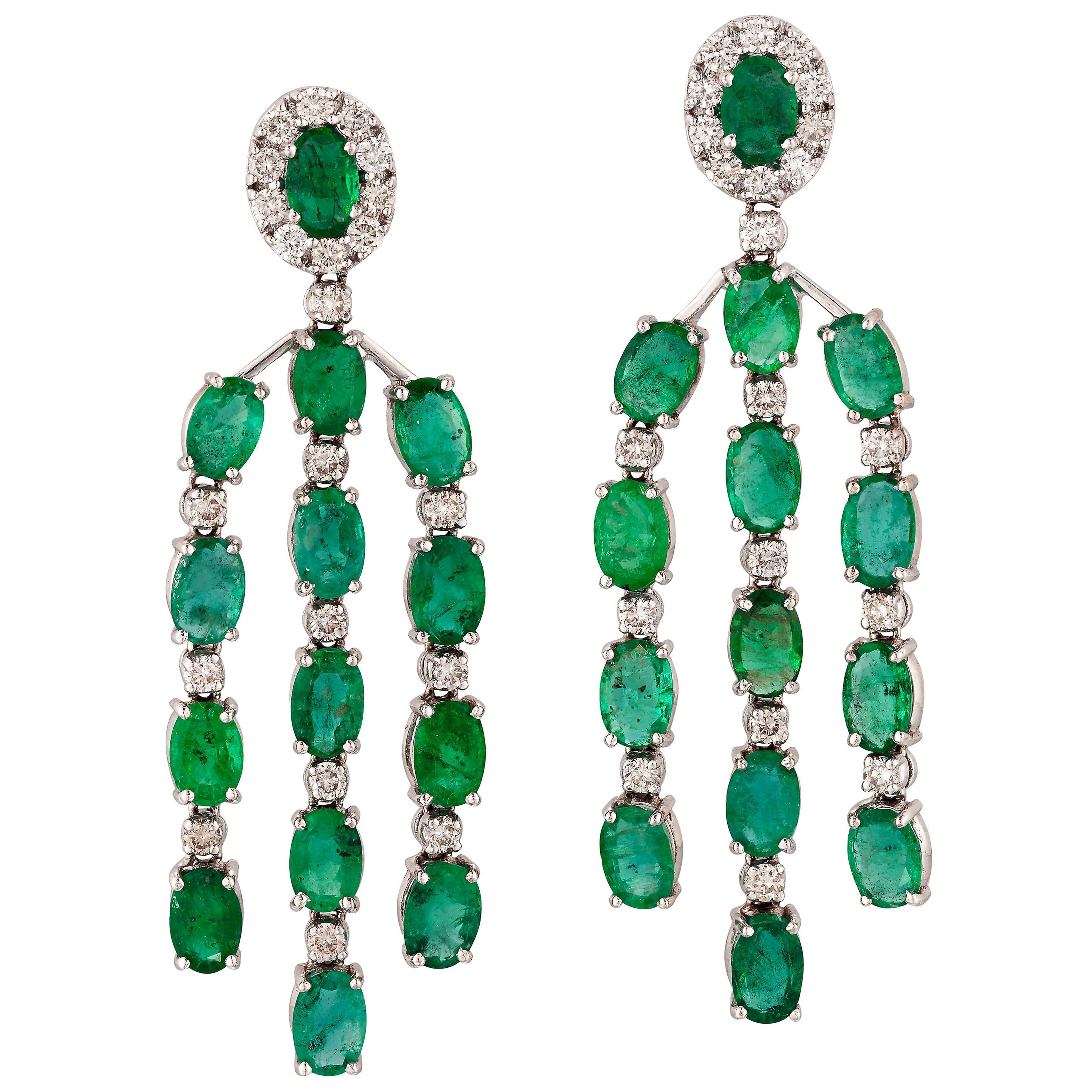 Emerald and Diamond Chandelier Earrings, 18 Carat White Gold, London Marks