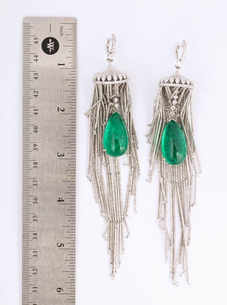 Emerald and Diamond Chandelier Earrings For Sale 4