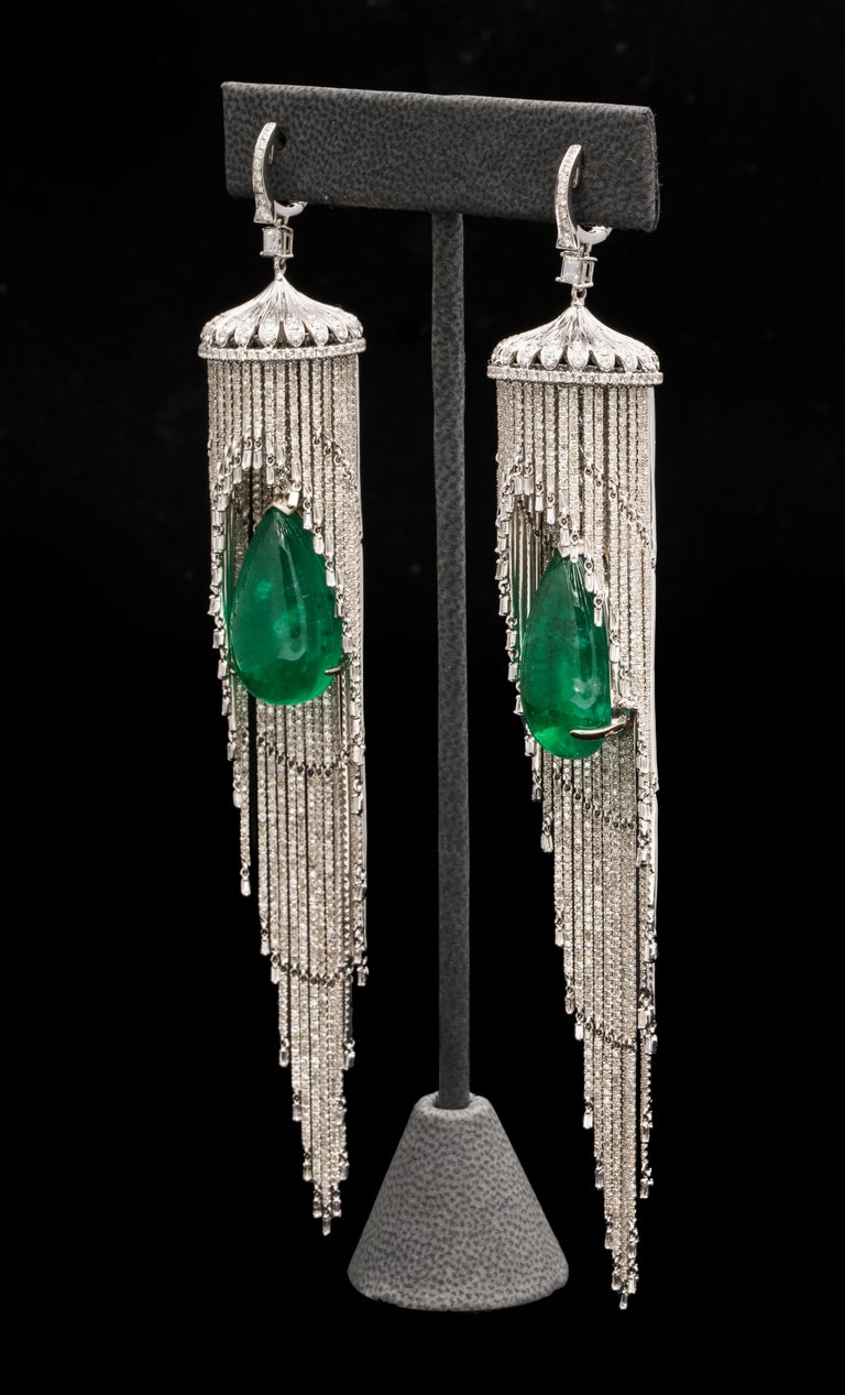 Emerald and Diamond Chandelier Earrings The Emeralds are 26.08 ct, 26.78 ct respectively  18.47 ct of Diamonds