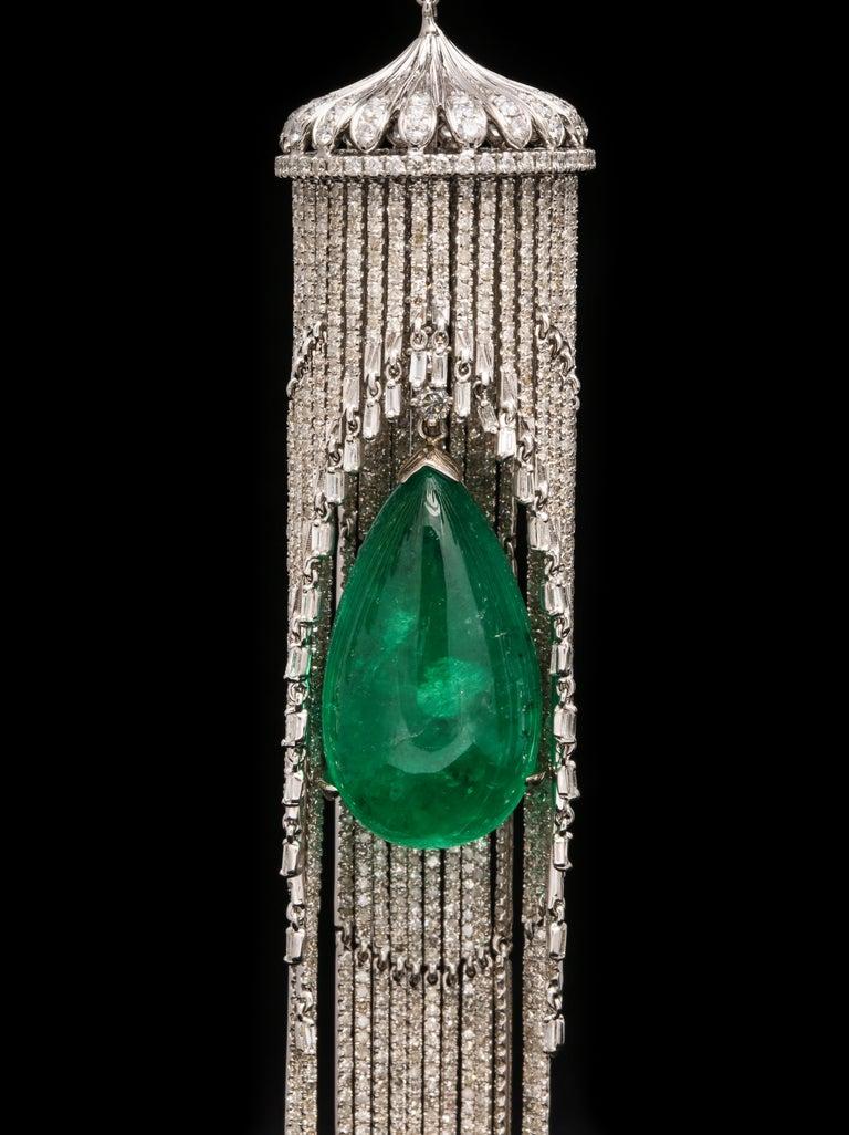 Modern Emerald and Diamond Chandelier Earrings For Sale