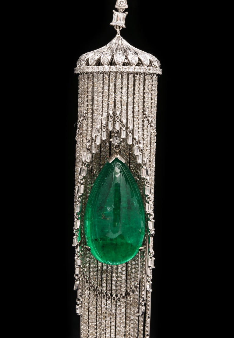 Cabochon Emerald and Diamond Chandelier Earrings For Sale