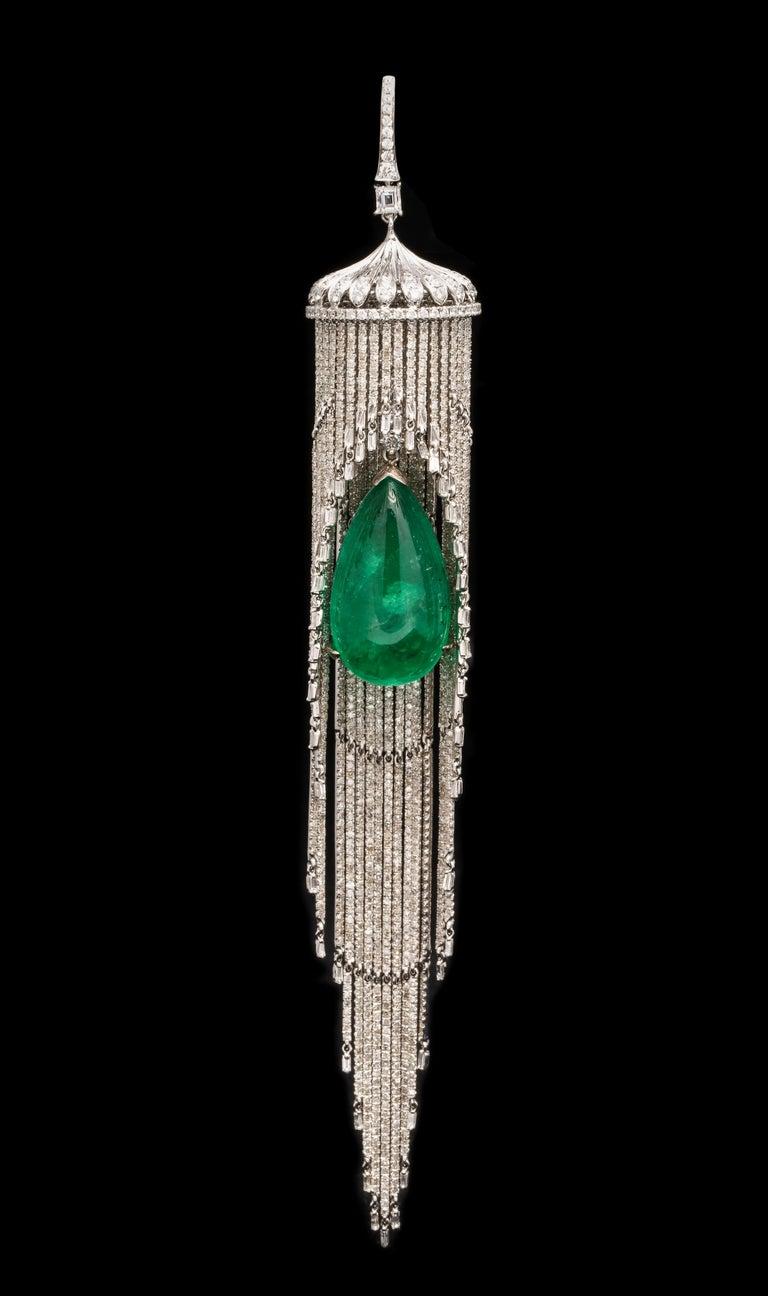 Women's or Men's Emerald and Diamond Chandelier Earrings For Sale