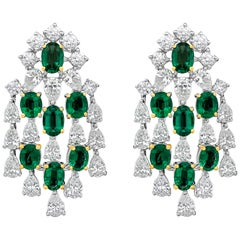 Emerald and Diamond Chandelier Earrings