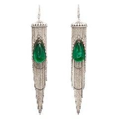 Emerald and Diamond Chandelier Earrings