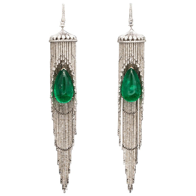 Emerald and Diamond Chandelier Earrings For Sale