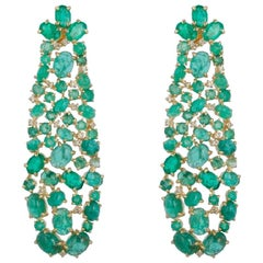 Emerald and Diamond Chandelier Earrings in 18 Karat Gold and Silver Setting
