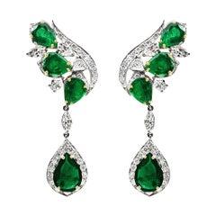 Emerald and Diamond Chandelier Earrings in 18 Karat White Gold