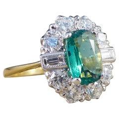 Smaragd und Diamant Cluster Verlobungsring