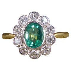 Emerald and Diamond Cluster Ring in 18ct Yellow and White Gold