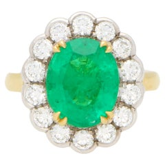 Emerald and Diamond Cluster Ring Set in 18 Karat Yellow and White Gold