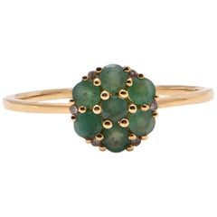 Emerald and Diamond Cluster Style Ring in 18 Carat Yellow Gold