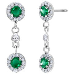 Emerald and Diamond Cluster White Gold Earrings Weighing 2.10 Carat