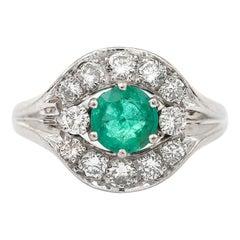 Emerald and Diamond Cluster Ring 18 Karat White Gold
