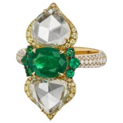 Emerald and Diamond Cocktail Ring in 18K Yellow Gold
