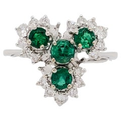 Emerald and Diamond Cocktail Ring in 18k White Gold