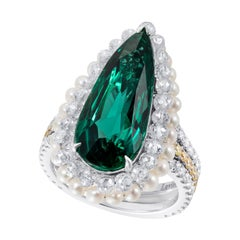 Emerald and Diamond Cocktail Ring with Pearls