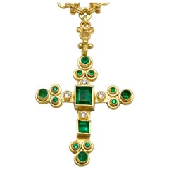 Emerald and Diamond Cross Pendant in 18k with handmade solid 18k Celtic Chain