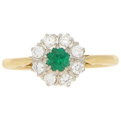 Emerald and Diamond Daisy Cluster Engagement Ring Set in 18 Karat Yellow Gold