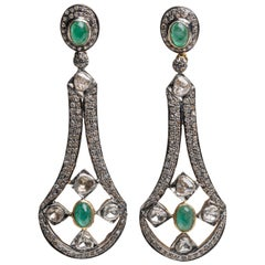 Emerald and Diamond Dangle Chandelier Earrings