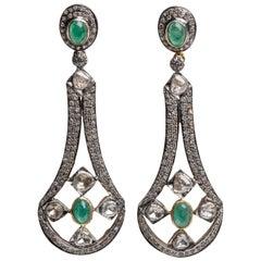 Emerald and Diamond Dangle Chandelier Earrings