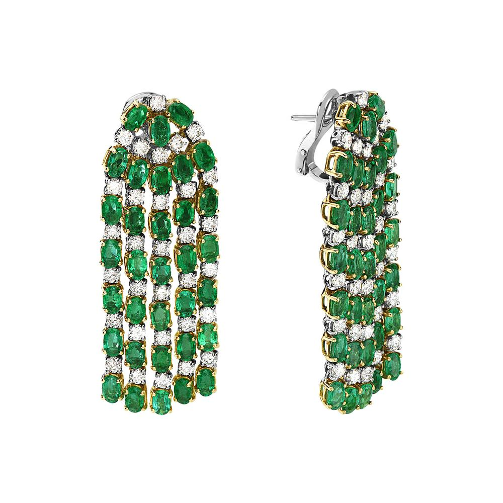 Emerald and Diamond Dangle Chandelier Earrings Set in Yellow and White Gold