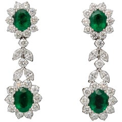Emerald and Diamond Dangle Drop Earrings
