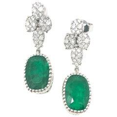 Emerald and Diamond Dangle Earrings in 18 Karat White Gold