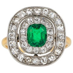 Emerald and Diamond Double-Cluster Ring