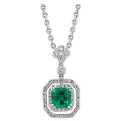 Roman Malakov Emerald and Diamond Double Halo Pendant Necklace