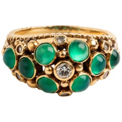 Emerald and Diamond Dress Ring, 18 Karat Yellow Gold, Hallmarked, circa 1960s