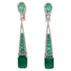 Emerald and Diamond Drop Dangle Earrings