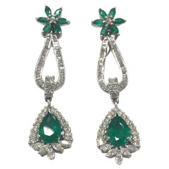Emerald and Diamond Drop Earrings 18 Carat White Gold, 1960s