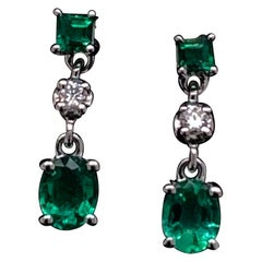 Emerald and Diamond Drop Earrings 18 Karat White Gold
