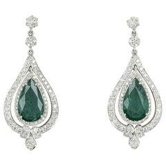 Emerald and Diamond Drop Earrings 8.02 Carat Emeralds 2.44 Carat Diamonds