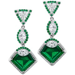 Emerald and Diamond Drop Earrings, AGL Certified