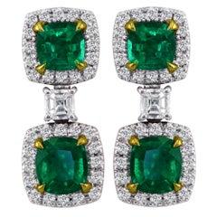 Emerald and Diamond Drop Earrings Set in 18K