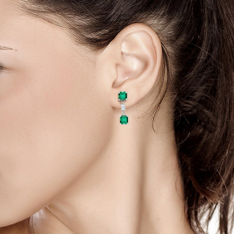 Women's Emerald and Diamond Drop Earrings Weighing 3.65 For Sale