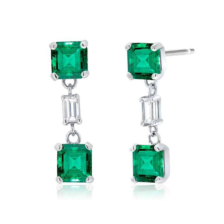 Contemporary Emerald and Diamond Drop Earrings Weighing 3.65 For Sale